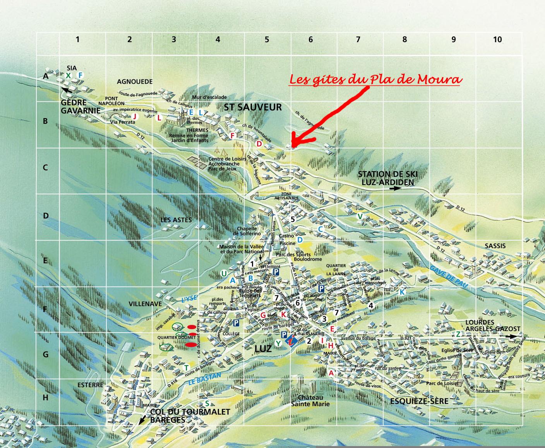 Plan les gites du pla de moura - Office du tourisme de luz saint sauveur ...